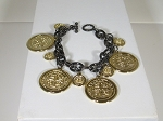 Hematite Link Charm Bracelet Inspired by Tory Burch