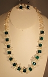 Jo-C Original Pearls & Emerald Green Crystal Necklace Set