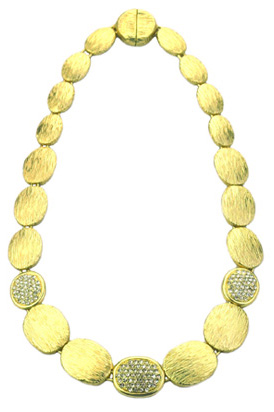 Marco Bicego Inspired Matt Gold Pave Necklace