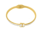Stainless  Gold T Bracelet with CZ
