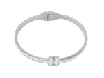 Stainless  Rhodium T Bracelet with CZ