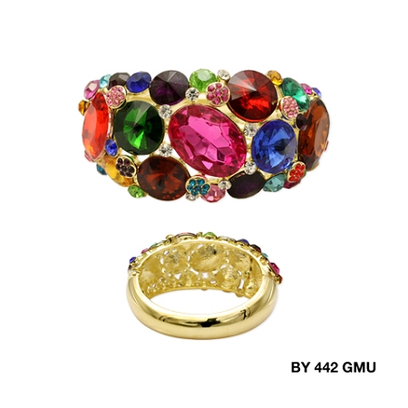 Statement Wide Color Stone Bangle
