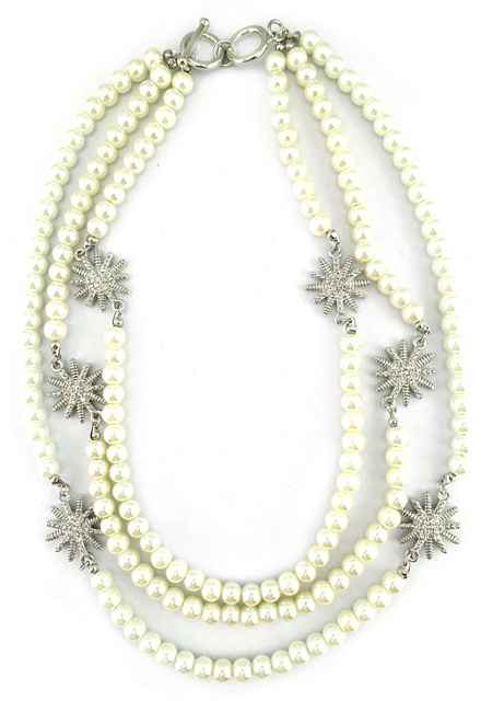 David Yurman Inspired, 3 strand Pearl Necklace with Starburst 16