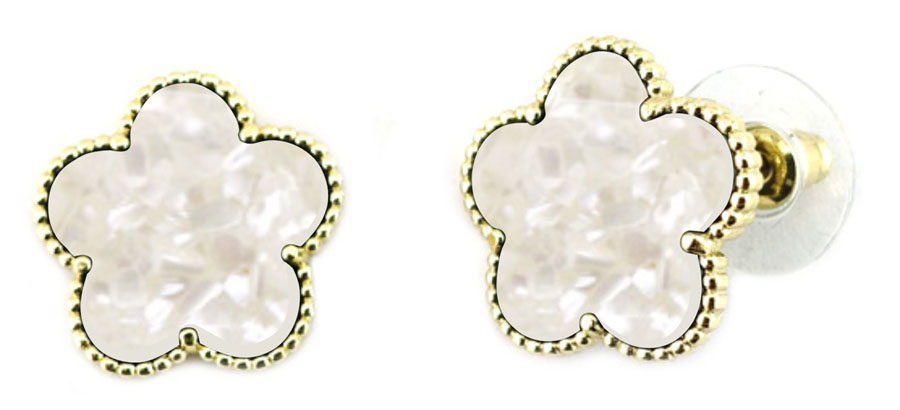 Mother of Pearl Clover Stud Earring w/Gold