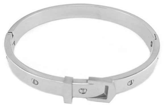 Stainless Steel, Rhodium Buckle Bangle Bracelet