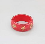 Lucite Bangle with gold sea life Coral