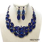 Crystal Necklace Royal Blue Marquise Stone