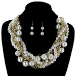 Pearls & Gold Multi Strand Statement Necklace