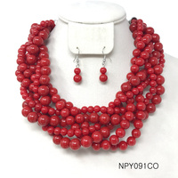Pearls Red Multi Row Statement Necklace