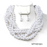 Pearls White Multi Row Statement Necklace