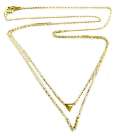 Sterling Silver Chain, 14K Gold plate double chain with V