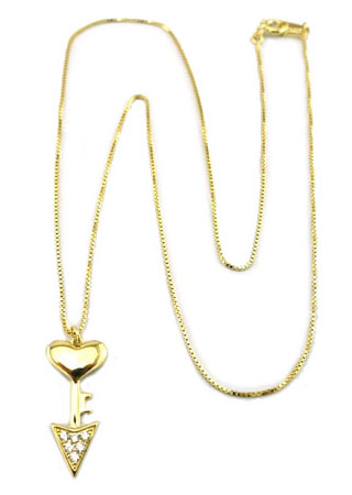 Sterling Silver Chain, 14K plate heart with pave arrow bottom