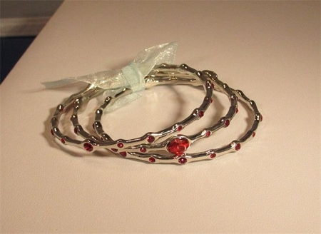Set of 3 Bangles (Silver/Red)