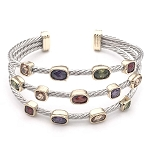 David Yurman Inspired, Rhodium Cable Cuff with  Multi Color CZ