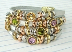 Four Row White leather Bracelet with Multi Color CZ