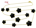 Black Onyx Clovers set in Gold Bezel on Gold Chain