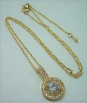 Gold Chain with CZ Pave Pendant
