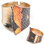 Gold Cuff with Multi print Leather Flap