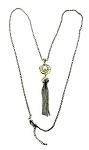 David Yurman Inspired, Rhodium chain with Pearl & Gold Tassel