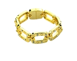 Roberto Coin Inspired Gold Rectangl Link Bracelet