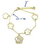 Mother of Pearl Clovers  set in Gold on Chain Bracelet