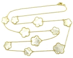 Mother of Pearl Clovers set in Gold on Gold Chain