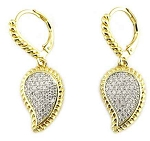 Pave Leaf Gold Dangle Earrings