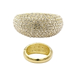Statement Wide Crystal Bangle Gold