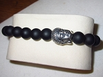 Men's Matt Black Onyx Bead Stretch Bracelet with Sterling Buddah
