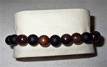 MEN'S  Matt Black Onyx & Wood Bead Stretch Bracelet