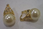 Pearl, Gold & Pave Earrings
