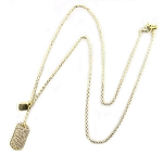 Tiffany Inspired Sterling & gold plate pave dog tag necklace