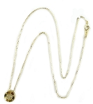 Sterling Silver Chain, 14K Gold Bezel set Pave CZ  Center