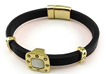 Roberto Coin Inspired Black Leather Bracelet