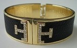 Tory Burch Inspired Black Leather Cuff