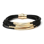 Multi Strand Black Bracelet with Gold Pipe bars