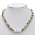 Inspired by Swarovski Gold Stardust  Necklace with Pave Front