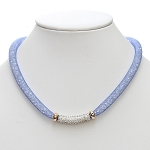Inspired by Swarovski Blue Stardust  Necklace with Pave Front