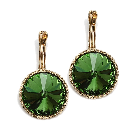 Crystal Earrings Emerald Green