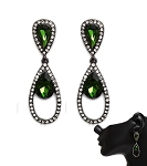 Crystal Earrings Emerald & Clear