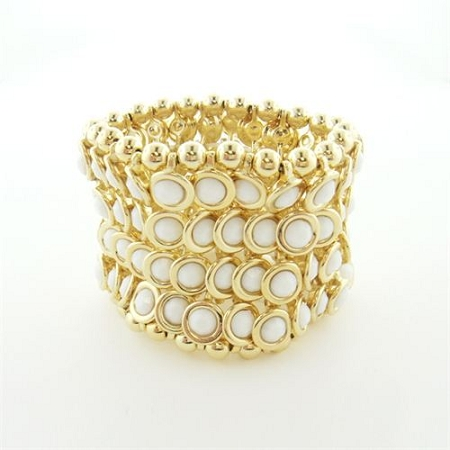 Stretch Cuff Bracelet (White Stone)