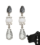 Crystal Earrings Grey Dangle