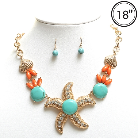 Starfish Necklace, Turquoise