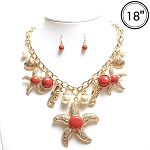 Starfish Necklace, Coral