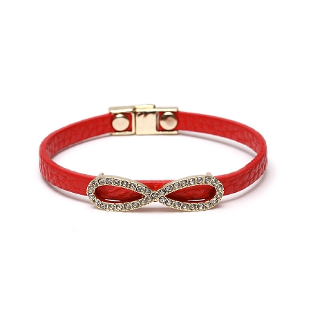 Red Leather Bracelet with Pave Infinity Top