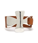 Bold Silver Cross with Brown Leather Strap HOT BUY!
