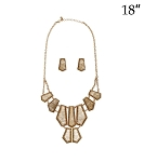Statement Necklace Gold Stone Set
