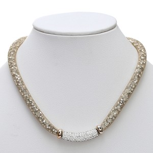 cb975476811b Inspired by Swarovski Gold Stardust Necklace with Pave Front