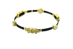 Black Cable Stacking Bangle Clear CZ