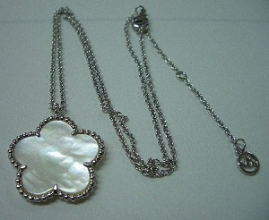 Rhodium Chain with Single Mother of Pearl Clover